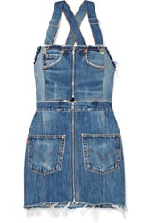 Re Done Levi's Two Tone Distressed Denim Mini Dress Mid Denim