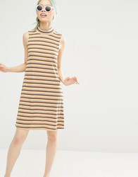 Monki Striped Knitted Dress Yellow