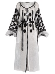 Vita Kin Stardust Embroidered Linen Midi Dress White Black