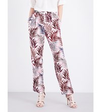Sandro Straight Silk Crepe Trousers Pink