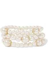 Kenneth Jay Lane Faux Pearl And Gold Tone Bracelet White