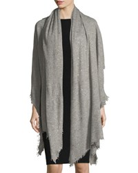 Bindya Scattered Sparkle Frame Cashmere Stole Light Gray