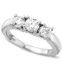 Macy's Engagement Ring 18K White Gold Certified Colorless Diamond Three Stone Ring 1 Ct. T.W.