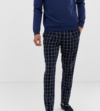 Noak Slim Fit Suit Trousers In Navy Grid Check