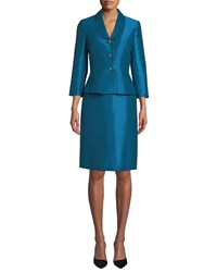Albert Nipon Faux Silk Two Piece Jacket And Skirt Suit Set Blue