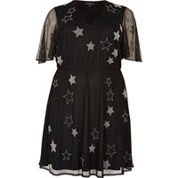 River Island Womens Ri Plus Black Sparkly Star Mesh Dress
