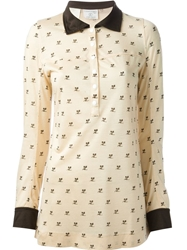 Courreges Vintage Logo Print Polo Shirt Nude And Neutrals