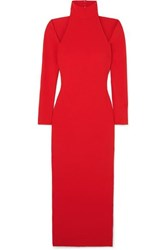 Solace London Grayson Cutout Stretch Crepe Midi Dress Red