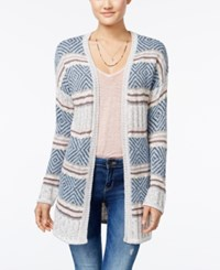 Hippie Rose Juniors' Striped Open Front Cardigan Charcoal Combo