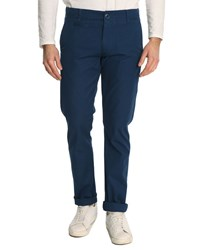 Knowledge Cotton Apparel Royal Blue Slim Fit Twist Chinos
