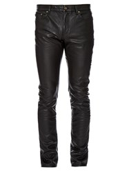 Saint Laurent Slim Fit Faux Leather Trousers