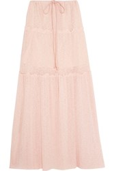 See By Chloe Tiered Stretch Knit Maxi Skirt Pastel Pink
