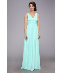 Donna Morgan Julie Bra Friendly Long Gown Spearmint Women's Dress Green