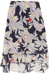 See By Chloe Ruffled Floral Print Silk Crepe Skirt Storm Blue