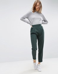 Asos High Waist Tapered Trousers Green