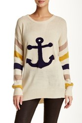 Pink Owl Anchor Graphic Sweater White