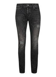 Topman Washed Black Ripped Stretch Skinny Jeans
