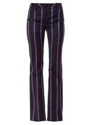 Altuzarra Serge Striped Wool Blend Flared Trousers Navy Stripe