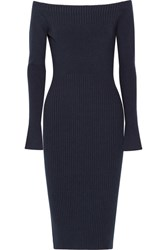 Jason Wu Off The Shoulder Ribbed Stretch Wool Blend Dress Navy