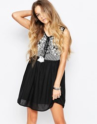Raga Embroidered Boho Dress With Tie Front Black