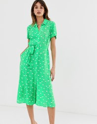 2Nd Day 2Ndday Limelight Anemone Floral Print Midi Shirt Dress Green