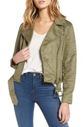 Cupcakes And Cashmere Women's Faux Suede Moto Jacket Light Army Green