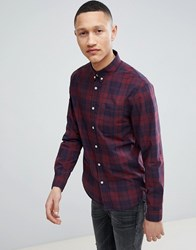Pier One Poplin Check Shirt In Red And Navy Check Dark Blue