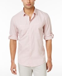 Inc International Concepts Men's Long Sleeve Work Stripe Shirt Only At Macy's Pink Wink