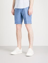 Slowear Slim Fit Linen And Cotton Blend Chino Shorts Blue