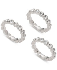 Givenchy 3 Pc. Set Crystal Bezel Stackable Rings Silver
