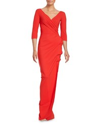 La Petite Robe Di Chiara Boni Florien Ruffled Three Quarter Sleeve Sheath Gown Red