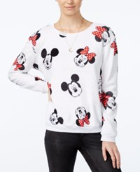 Disney Juniors' Mickey And Minnie Mouse Fuzzy Sweatshirt White