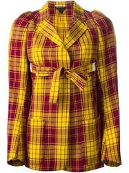 Comme Des Garcons Vintage Tartan Wrap Blazer Yellow And Orange