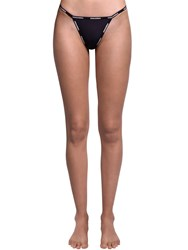 Dsquared Stretch Tulle Thong W Logo Trim Black
