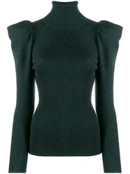 P.A.R.O.S.H. Structured Shoulder Knitted Top Green