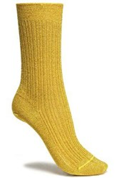 Missoni Metallic Ribbed Knit Socks Gold