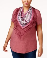 Styleandco. Style Co. Plus Size T Shirt With Fringe Scarf Only At Macy's Pale Raspberry