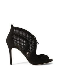 Karen Millen Mesh And Suede Open Toe High Heel Booties Black