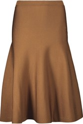 Cushnie Et Ochs Pleated Stretch Knit Skirt Brown