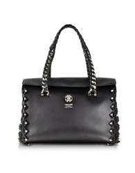 Roberto Cavalli Small Black Leather Satchel W Metal Detail