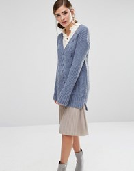 Fashion Union V Neck Knitted Jumper Blue