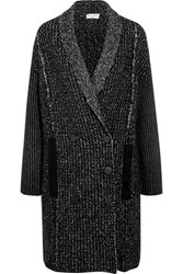 Sonia Rykiel Double Breasted Stretch Wool Blend Coat Black