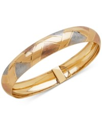 Macy's Tricolor Woven Bangle In 14K Gold White And Rose Rhodium Plate Tri Tone
