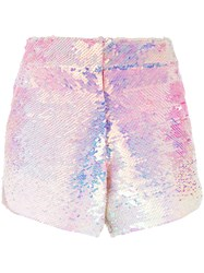 Manish Arora Ombre Sequinned Shorts Women Polyester 36 Pink Purple