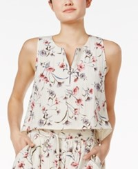 J.O.A. Front Zip Floral Print Crop Top Ivory Multi