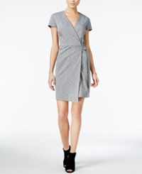 Bar Iii Short Sleeve Wrap Dress Only At Macy's Light Grey Combo