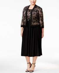 R And M Richards Plus Size Belted Lace Dress Jacket Black Taupe