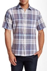 Toscano Regular Fit Short Sleeve Plaid Shirt White