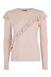 Topshop Tall Long Sleeve Ruffle T Shirt Stone