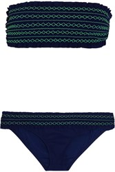 Tory Burch Costa Smocked Bandeau Bikini Navy